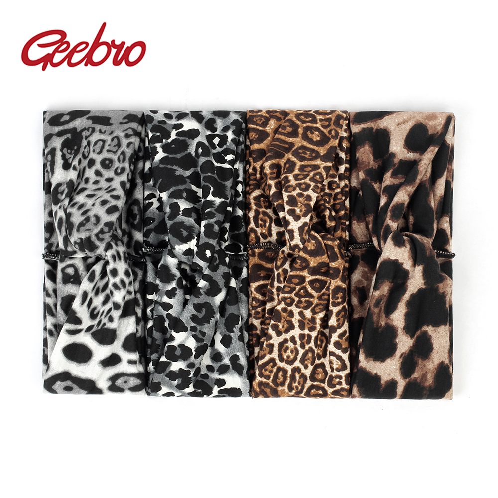 Geebro Women's Summer Headbands Fashion Leopard Print headband For Girls Knotted Hair band Female Casual Hair Accessories