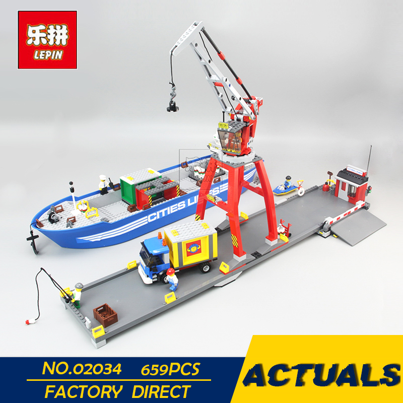 LEPIN 02034 695pcs City Series Super Cargo Port Terminal Lepin Building Block Compatible 7994 Brick Toy Boy gifts DIY lepin 15018 3196pcs creator city series sunshine hotel model building kits brick toy compatible christmas gifts