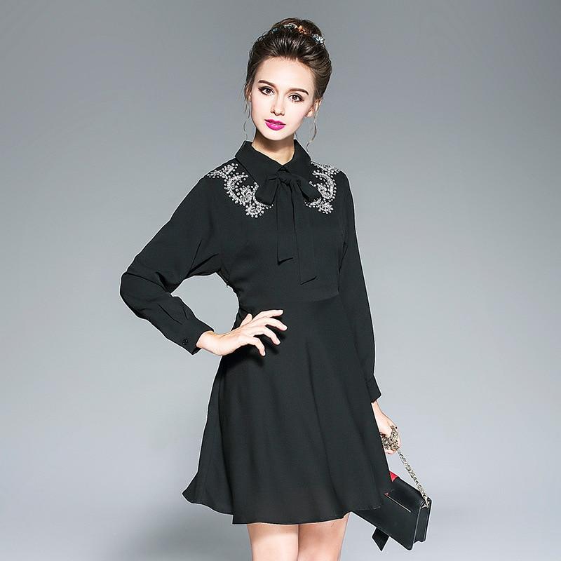 Autumn Women Clothing A Line Little Black Dress Plus Size Diamond