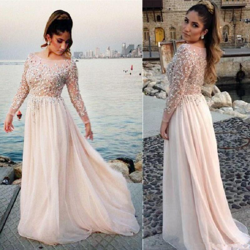 Arabic Blush Pink Long Sleeve Evening Dresses 2019 robe de soiree Applique Lace Prom Dress A
