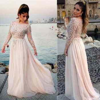 Arabic Blush Pink Long Sleeve Evening Dresses 2019 robe de soiree Applique Lace Prom Dress A Line Formal Women Party Gowns - Category 🛒 Weddings & Events