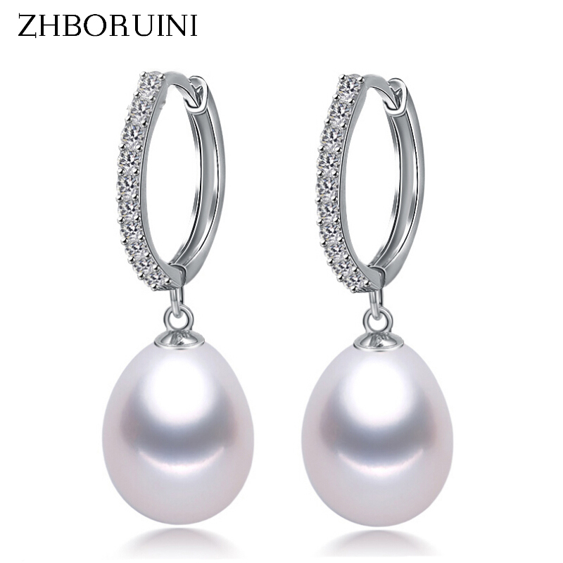 ZHBORUINI 2019 Pearl Earrings Genuine Natural Freshwater Pearl 925 Sterling Silver Earrings Pearl Jewelry For Wemon Wedding Gift