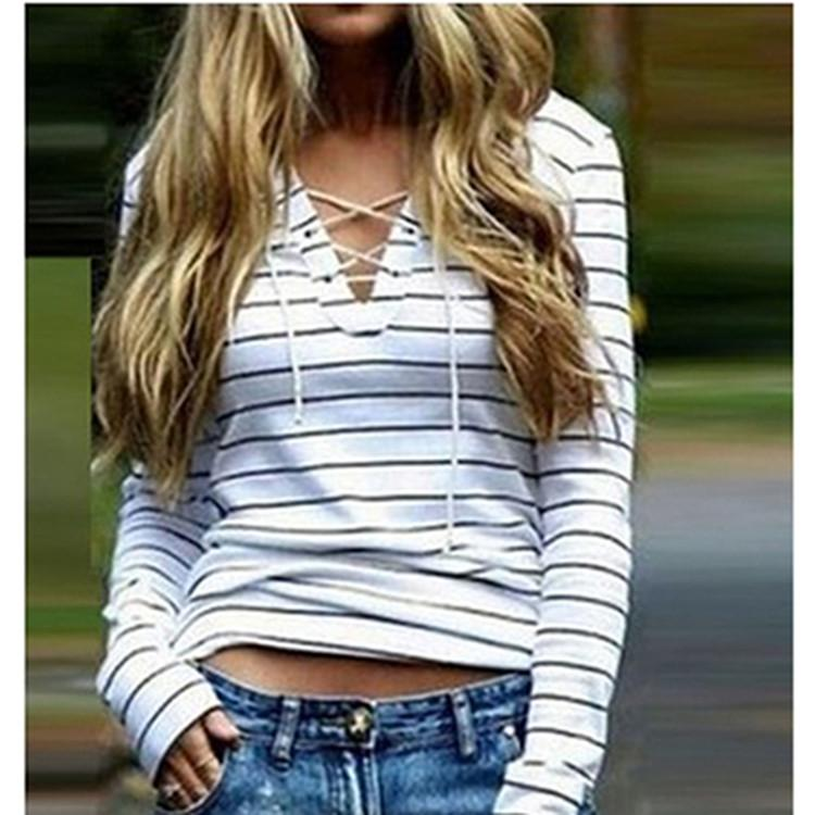 Long Sleeve Bandage Black And White Stripes Striped Female Bottoming Shirt V Neck T shirt Tops for Women Spring Autumn S-XL Tees