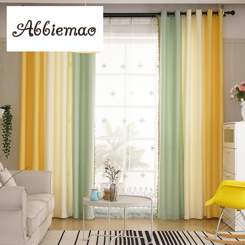 Yellow And White Bedroom Curtains: Abbiemao Simple Modern Cotton And Linen Curtain Girls