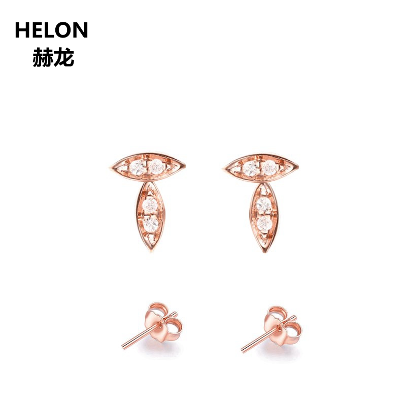 100% SI/H Full Cut Natural Diamonds Stud Earrings Solid 14k Rose Gold Unique Classic Women Earrings Fine Jewelry solid 18k rose gold unique stud earrings for women si h 100% natural diamonds earrings unique trendy party fine jewelry