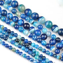 natural AAA Blue stripe Onyx agate Round Imitation Gemstone Loose Beads jewelry making 6/8/10/12mm Please select size 018012004