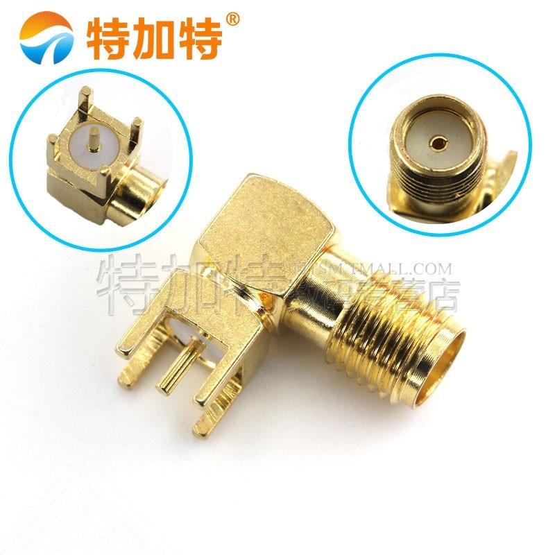 10pcs SMA Female Thru Hole Plug Right Angle 90 DEGREE SMA-KWE PCB Mount Connector RF Adapter