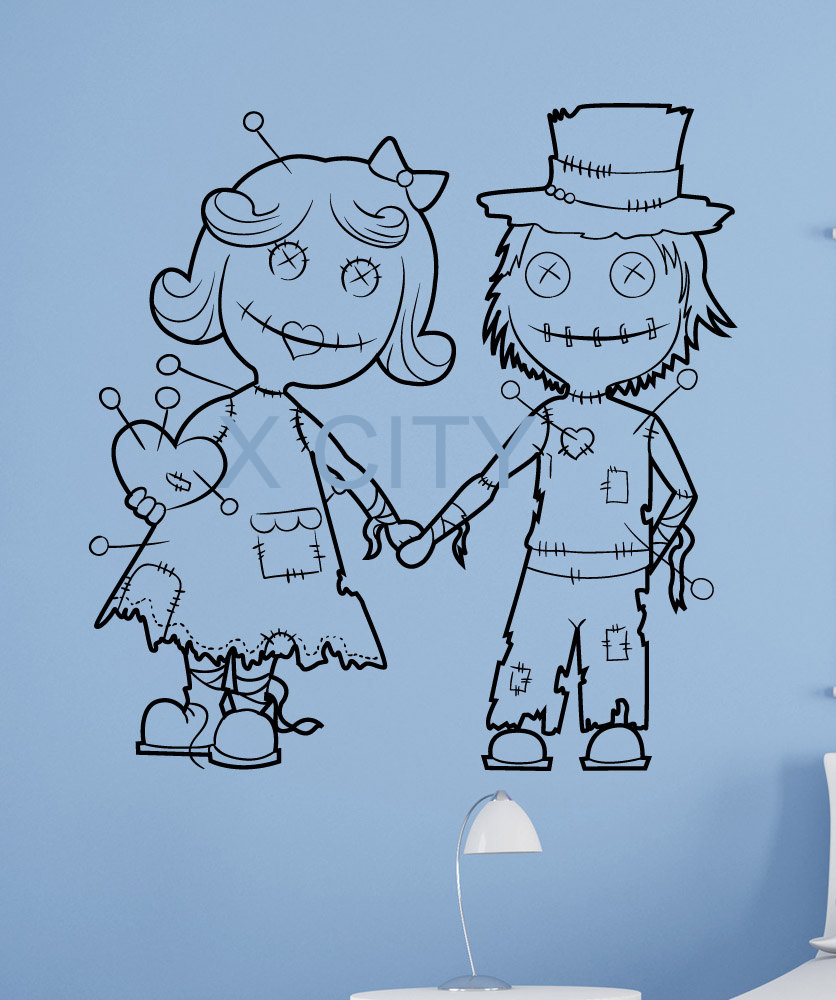 Halloween Voodoo Doll Couple Scared Black Vinyl Wall Decal Sticker ... for Couple Sticker Line  166kxo
