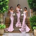 Fashion Sexy Pink Lace Mermaid Bridesmaid Dresses Elegant Sweetheart Slim Spaghetti Strap Formal Dress Robe Demoiselle D'honneur