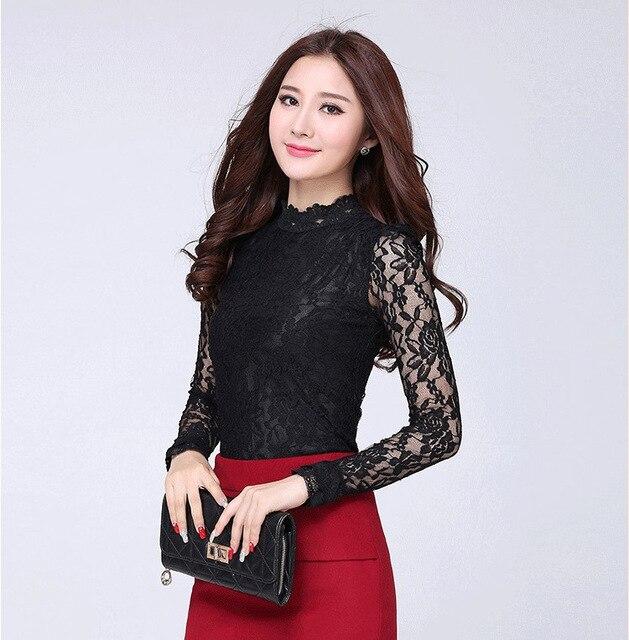 The new 2014 shirt autumn Korean large size women slim slim openwork lace shirt bubble sleeve