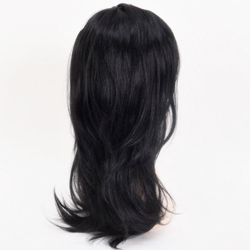 Girls Women Long Black Straight middle part hairstyle Hair set cosplays Peluca headwear Carnival Purim Nightclub party Costumes