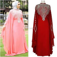 High Neck Long Sleeves Crystal Beaded Chiffon Dubai Kaftan Luxury Muslim Hijab Evening Dress Long Formal