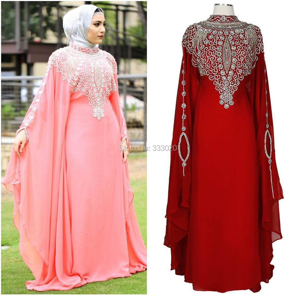 High Neck Long Sleeves Crystal Beaded Chiffon Dubai Kaftan Luxury Muslim font b Hijab b font
