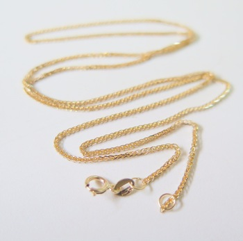 Pure 18K Yellow Gold Necklace Special 0.8mm Wheat Link Chain Necklace 17.7inch Length Hallmark: Au750 1