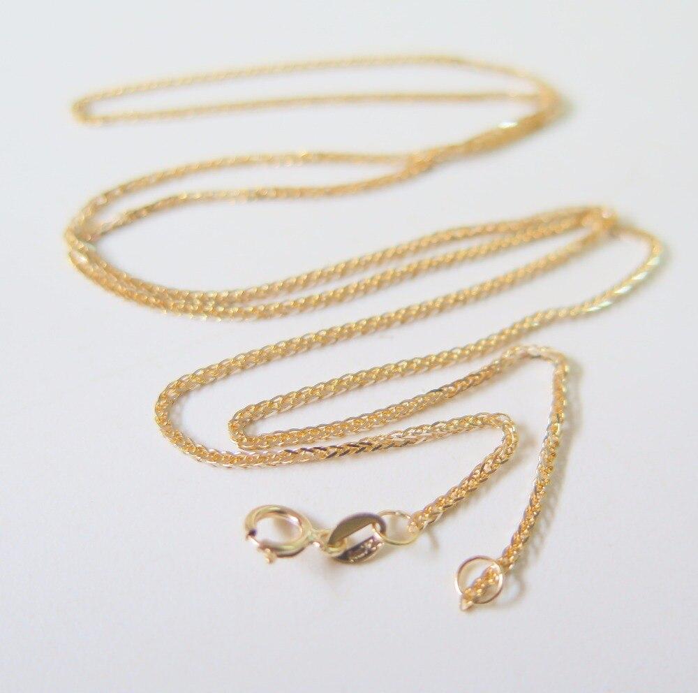 Pur collier en or jaune 18 K spécial 0.8mm blé lien chaîne collier 17.7 pouce longueur poinçon: Au750