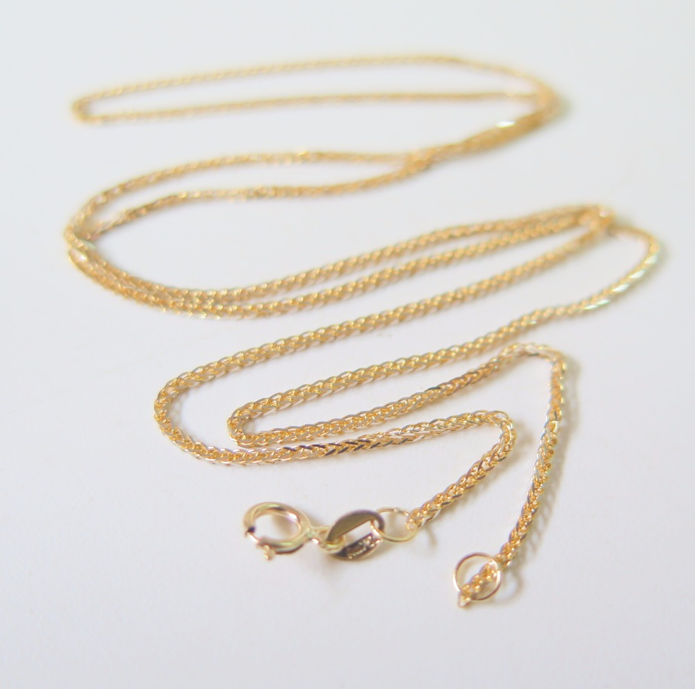 Pure 18K Yellow Gold Necklace Special 0.8mm Wheat Link Chain Necklace 17.7inch Length Hallmark: Au750