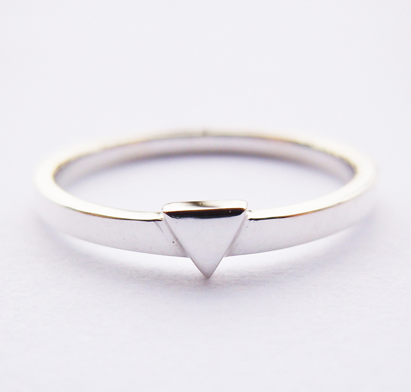 Solid 925 Sterling Silver Triangle Ring