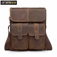 Real Leather Male Design One Shoulder Messenger bag cowhide fashion Cross body Bag 10 Pad University School Book bag 009