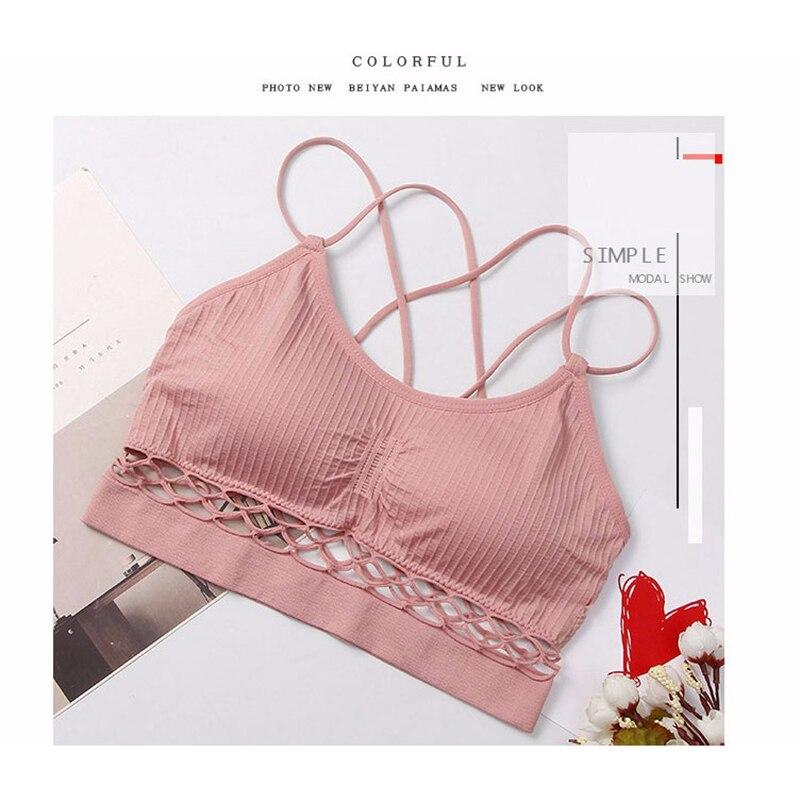 9fcea67437 Sexy Hollow Bras for Women Brassiere Lingerie Padded Backless Bra Wire Free  Solid Bustier Vest Tube Top Bralette Underwear  D 23 t. 1