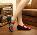 Chinese Vintage Embroidered Shoes National Dance Single Soft Canvas Cloth Cotton Flats Shoes Size 34-41 SMYXHX-E0057
