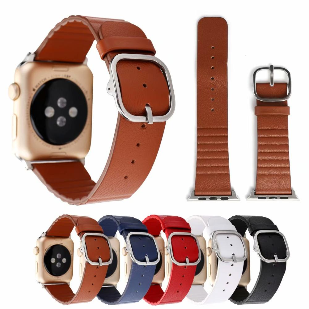 Genuine Leather Bracelet Strap For Apple watch band 4 44/40mm Men Women Watches band accessories for iWatch series 3 2 1 42/38mm