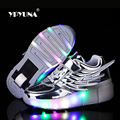 Tamaño 28-37//2016 zapato infantil light Up Luminoso Que Brilla Intensamente led Rodillo zapatillas de Skate Sneakers Para Niños Con uno Ruedas Girls & Boys
