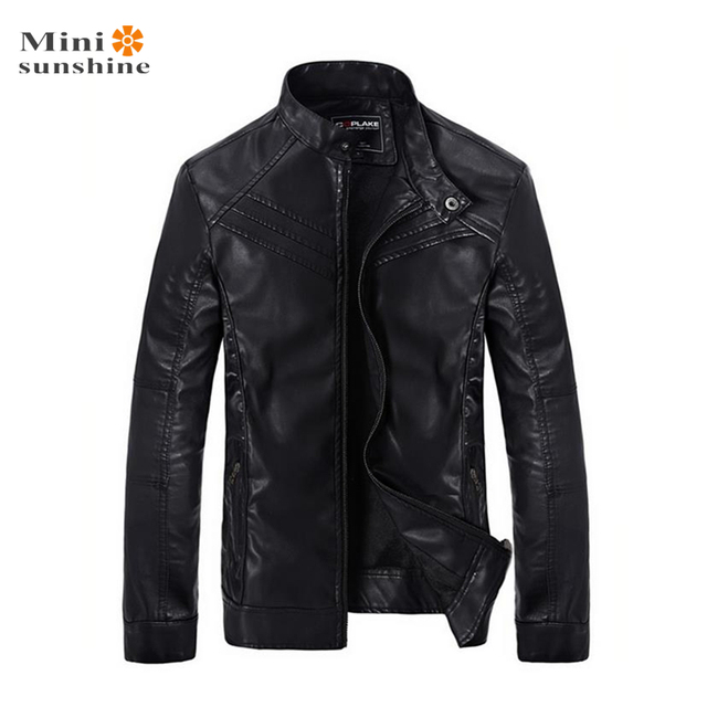 Motorcycle Leather Jacket Men Fashion Pu Brand Coat Slim Zipper Outerwear 2016 Stand Collar Imitation Leather Jersey Coat