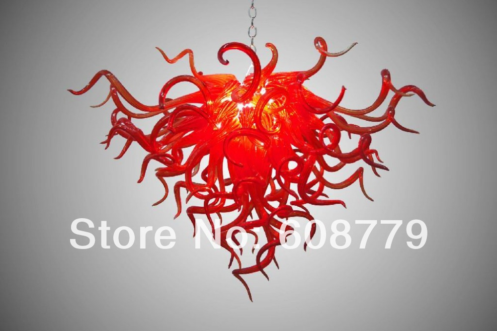 Free Shipping Pure Red Hand Blown Art Glass Chandelier Crystals Sale - Red chandelier crystals