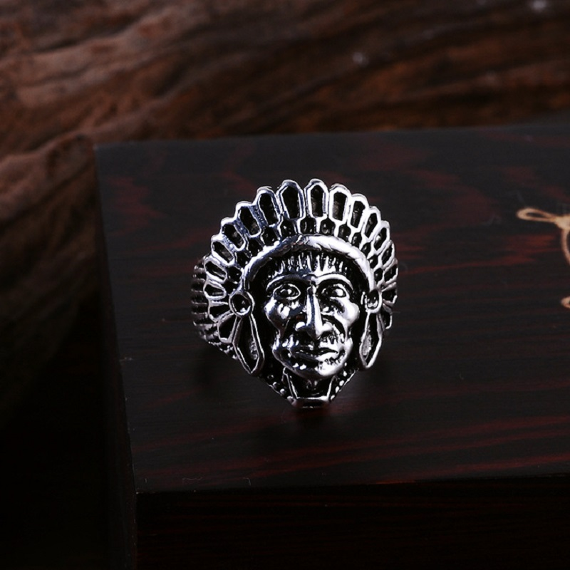 QCOOLJLY New Fashion Titanium Vintage Native Mens Large Indian Apache Chief Biker Ring Punk Cool Biker Motorcycle Skull Ring