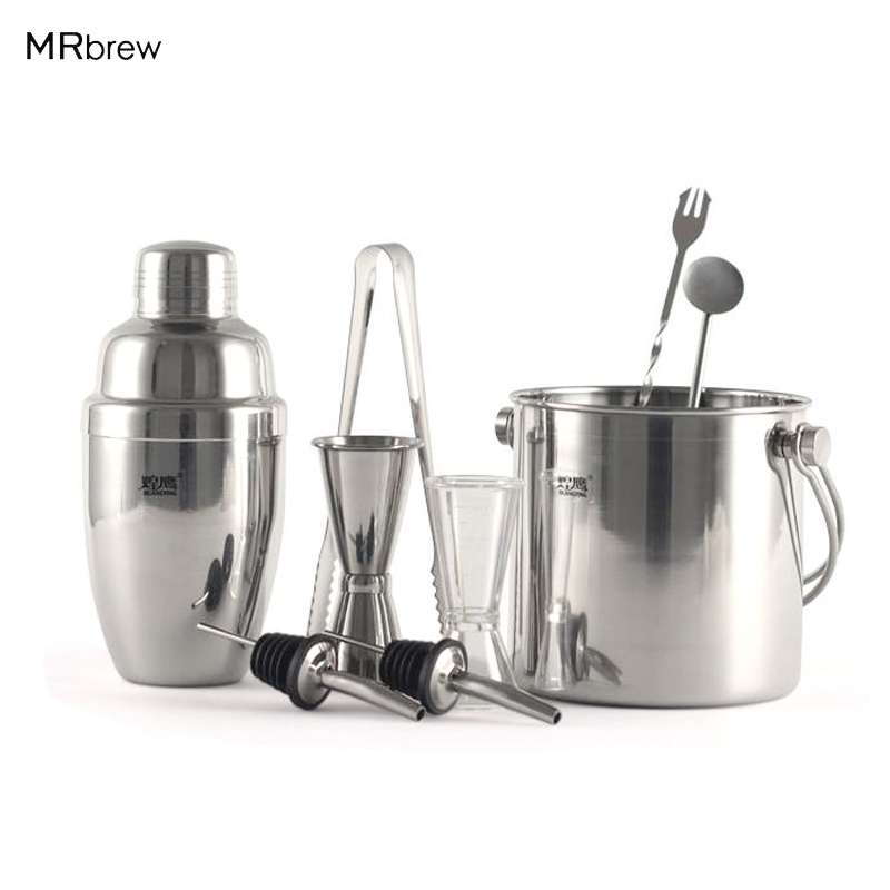 9pcs set stainless steel ice bucket shaker pourer measurement cocktail martini drink mixer. Black Bedroom Furniture Sets. Home Design Ideas