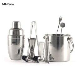 9Pcs/set Stainless Steel Ice Bucket + Shaker + Pourer + Measurement Cocktail Martini Drink Mixer Set Bars Shaker Bartender Kit