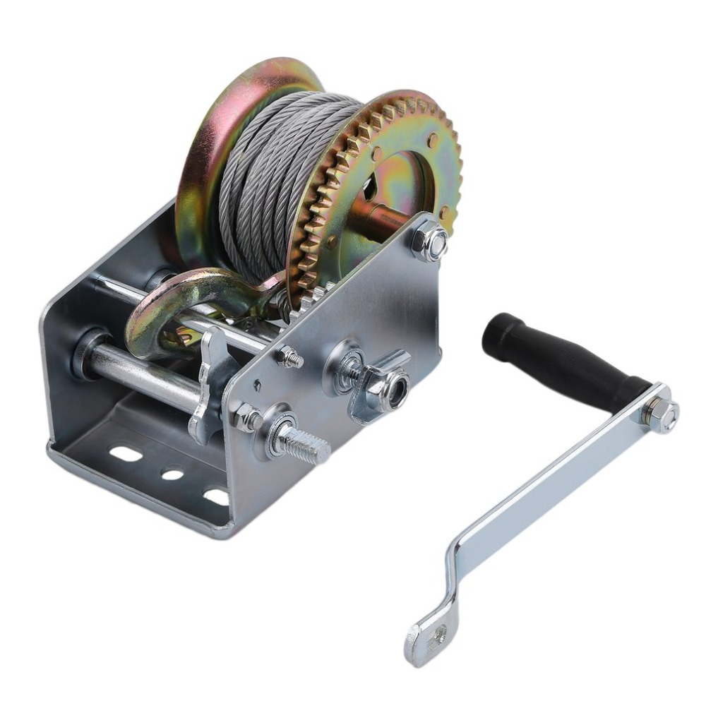 10M Cable Hook Boat Truck Auto Hand Manual Winch 2500lbs Trailer Marine Hand Power Puller Hand Tool Lifting Sling