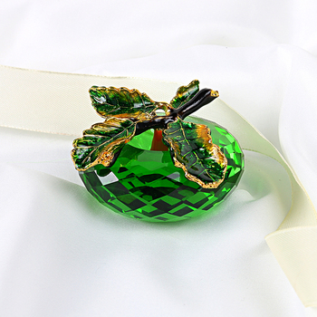 H&D 3D Crystal Paperweights Glaze for Apple Figurine Ornaments Green Glass Crafts Office Desktop Decor Wedding Birthday Gifts