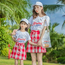 все цены на plaid mother daughter dresses 2 pieces mommy and me clothes family matching outfits look mom mum and daughter girl dress clothes онлайн