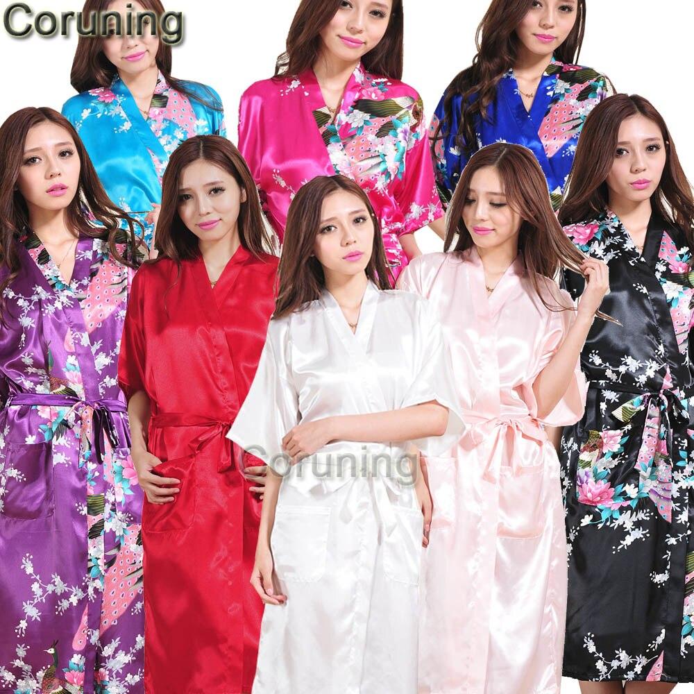 S1686 Neue Frauen Satin Kimono Roben Floral Brautjungfern Bademantel ...