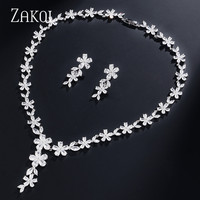 ZAKOL Luxury White Flower Shape Full Cubic Zirconia Dubai Jewelry Sets Women Wedding Bride Dress Accessories