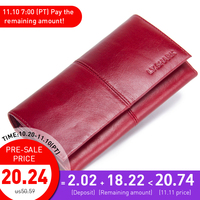 LY.SHARK red wallet women wallet female purse women wallet genuine leather wallet ladies walet long money bag credit card holder