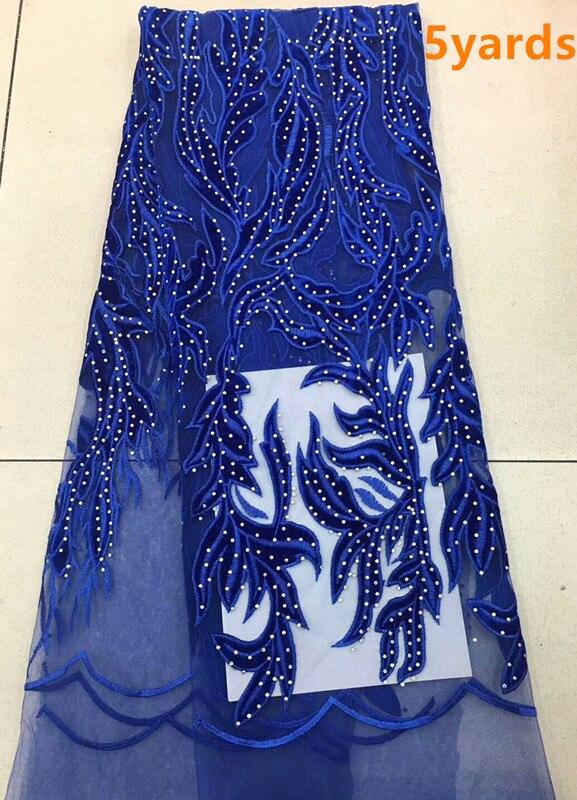 Pierres de haute qualité africain net tulle dentelle tissu brodé diamant velours dentelle tissu pour robe de soirée dpJ243