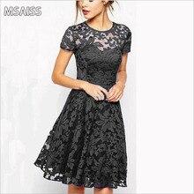MSAISS Elegant Lace Crochet Flower Vintage Women Summer Dress Plus Size S~5XLFeminino Party Vestidos de festa 3Solid Color Dres