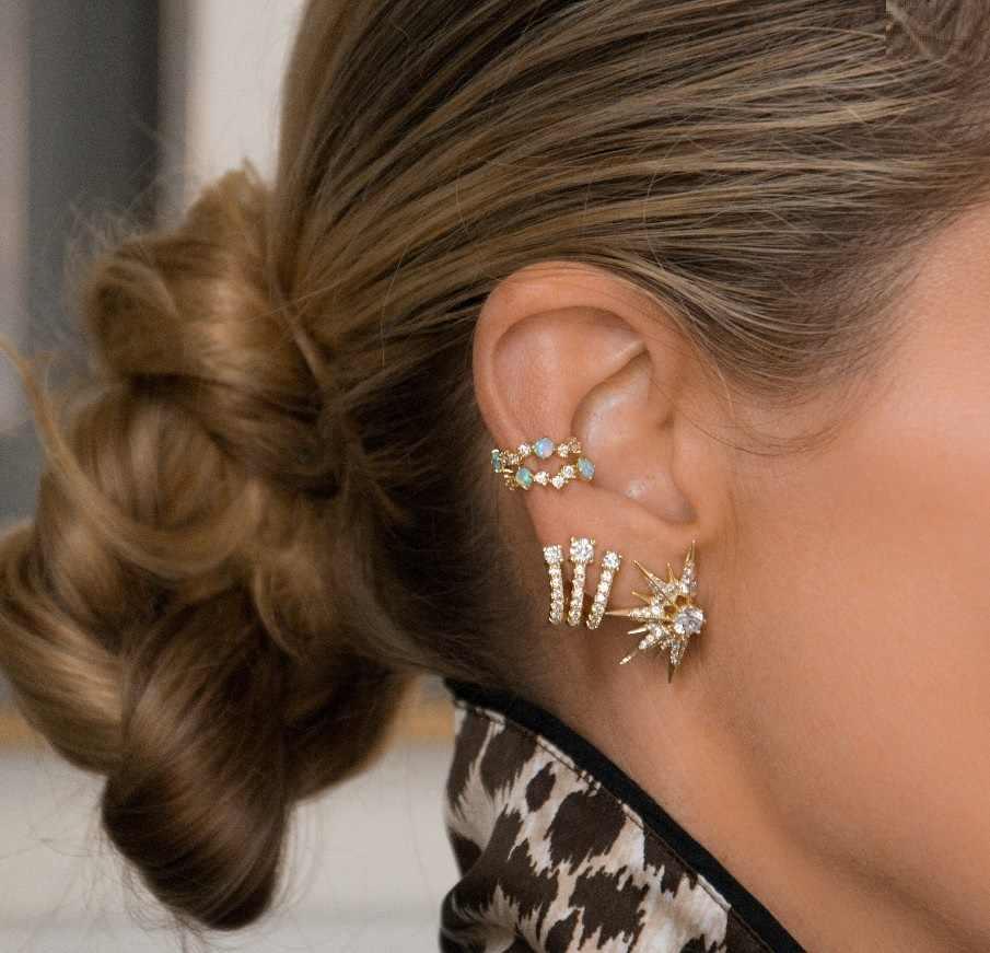 CZ אשכול כחול אש אופל אבן לא פירסינג שרוול אוזן עגיל זהב מלא וגרם בלינג cz קליפ על עגיל 1 חתיכה