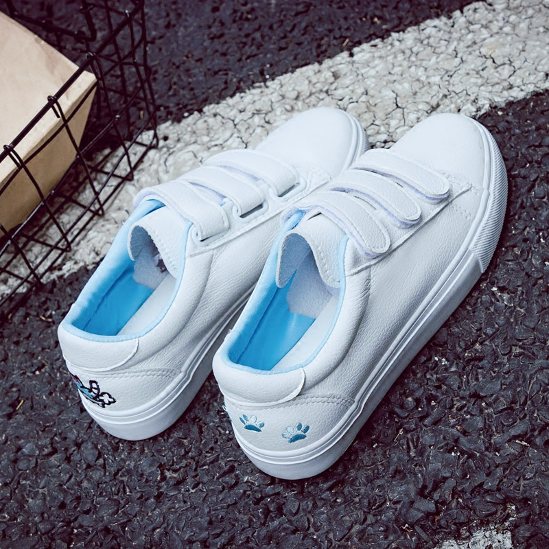 2018 new womens shoes spring fashion white sneakers platform leather cat women vulcanized shoes platform breathable solid color