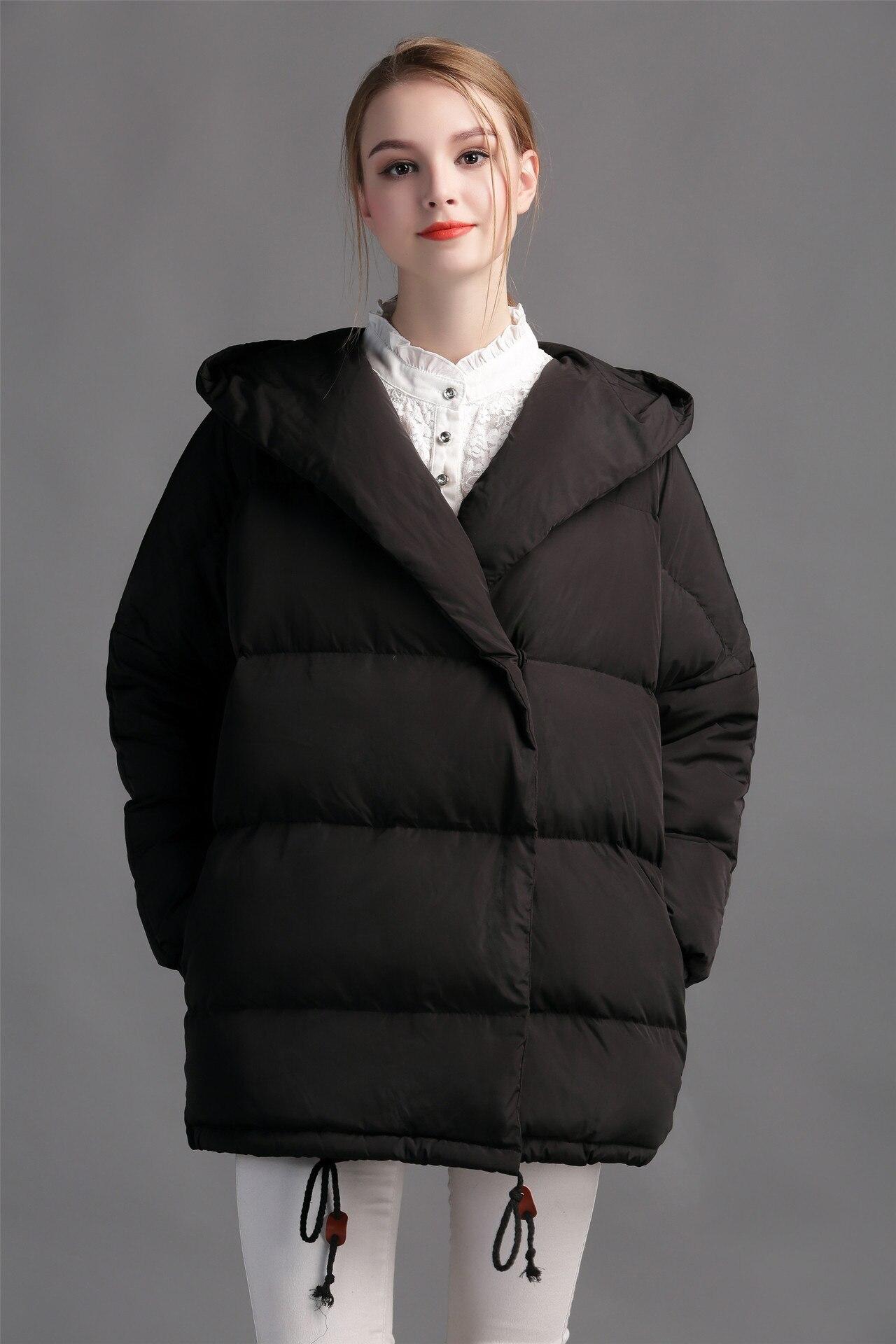loose fit jacket long oversized hood designer coats quilt ...