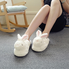 лучшая цена Suihyung New Winter Women's Shoes White Plush Bunny Home Slippers Winter Warm Flock Indoor Shoes Soft Faux Fur House Flip Flops