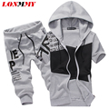 LONMMY 2017 Summer Tracksuits Short-sleeved Hooded Suit sets Cotton Hoodies Suits Outwear Sweatshirts Coats Printed Letter