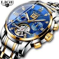 Homens Relógios Marca de Topo LIGE 2019 Novos Homens de Luxo Relógio Mecânico Automático Assistir À Prova D' Água de Aço Completa Negócios Relogio masculino|Relógios mecânicos| |  -