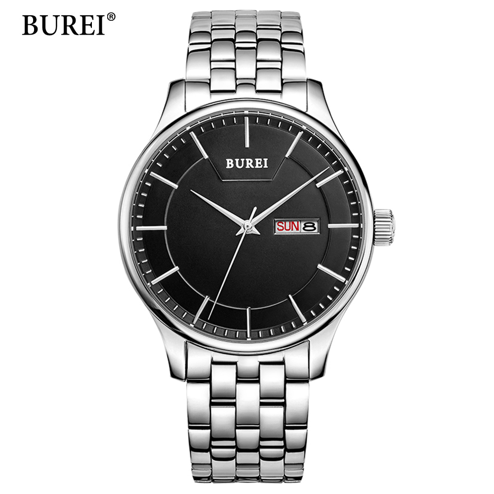 relogio masculino BUREI Luxury Brand Full Stainless Steel Analog Display Date Men's Quartz Watch Business Watch Men Watch yazole luxury brand full stainless steel analog display date men s quartz watch business watch men watch relogio masculino