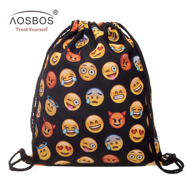 0fcb1c44bb Aosbos Lovely Emoji Printed Drawstring Backpack Outdoor Sports Gym Bag  Durable Training Fitness Sack Drawstring Bag for Shoes
