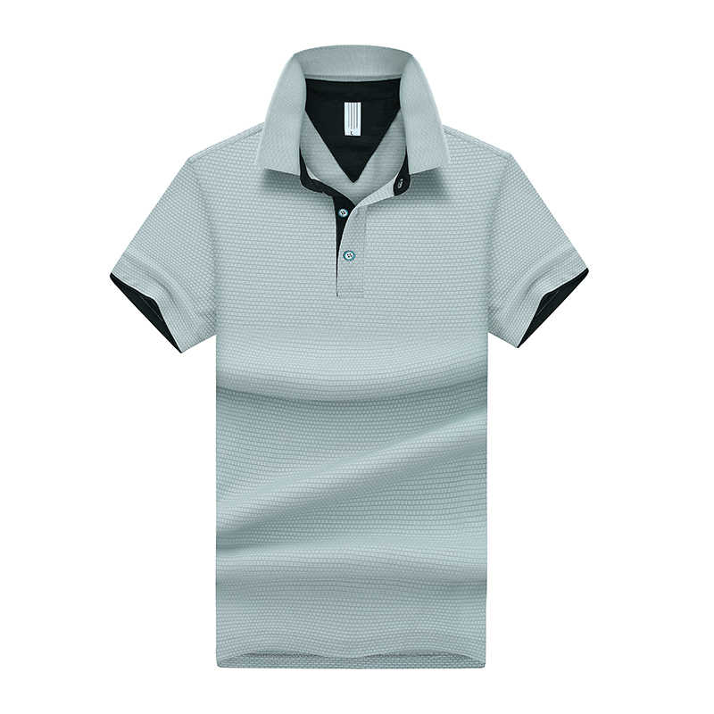 Dropshipping 4 Colors Polyester Polo Shirt Men Short Sleeve Polos Para Hombre Striped Print Casual Mens Top Clothing