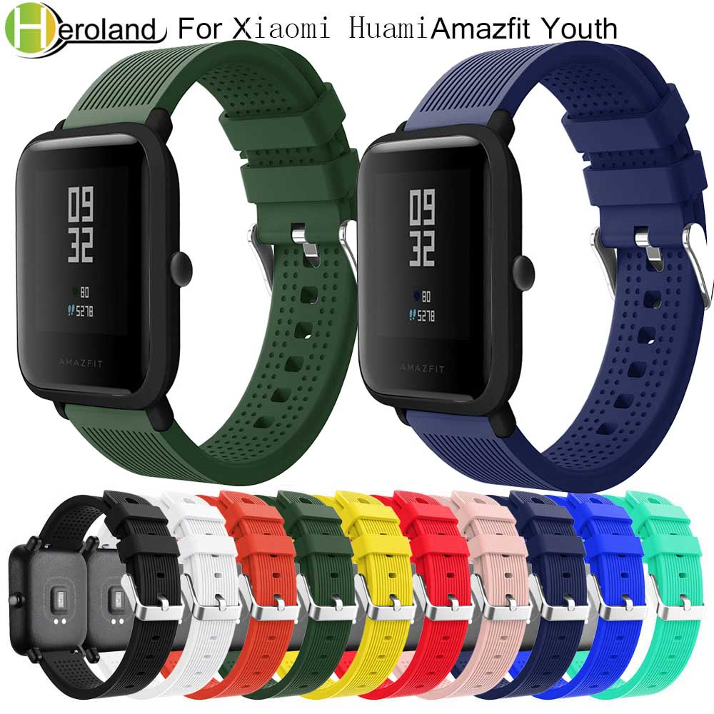 20mm Silicone Watch Strap For Xiaomi Huami Amazfit Bip BIT PACE Lite Youth Smart Watchband Sport Bracelet Wriststrap Waterproof