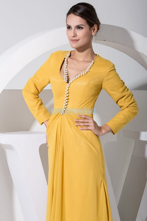 free shipping 2017 hot sale plus size yellow new modest long sleeve gowns  beading chiffon Mother of the Bride Dress with jacket-in Mother of the Bride  ... a3c825bf7f07